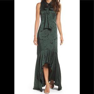 Shoshanna Mayburn Jacquard High/Low Gown Green